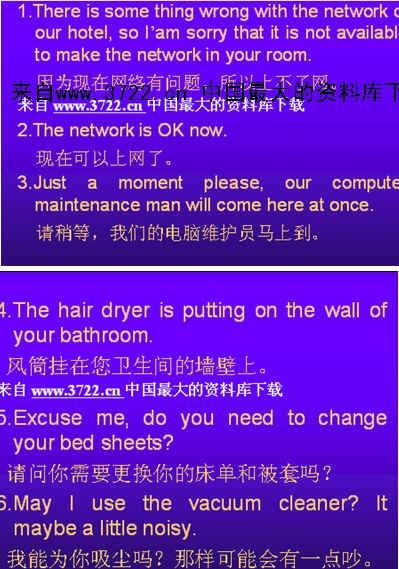 国际大酒店--酒店客房常用英语日常服务用语1】(ppt