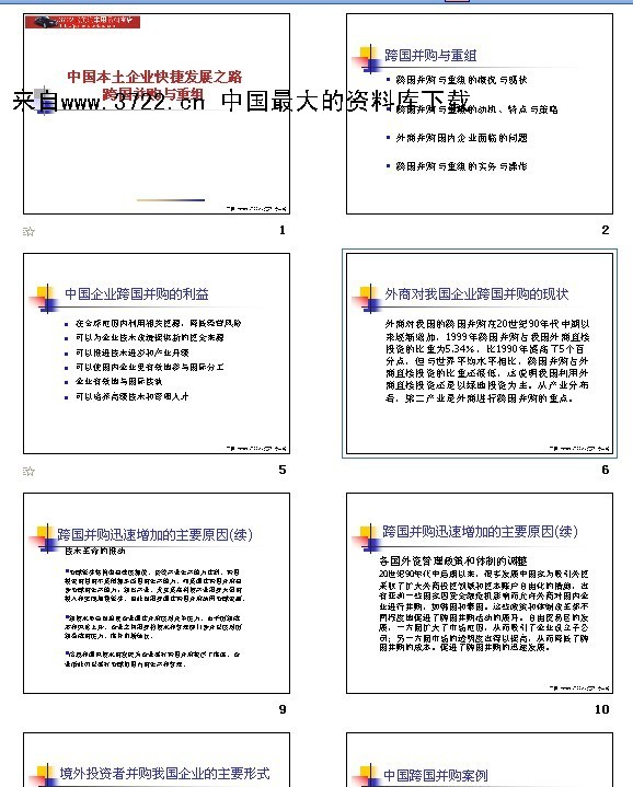 下载 中国本土企业快捷发展之路跨国并购与重组 ppt 65页