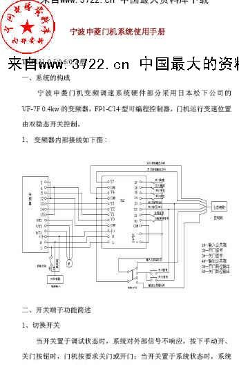 电梯-宁波申菱门机系统使用手册