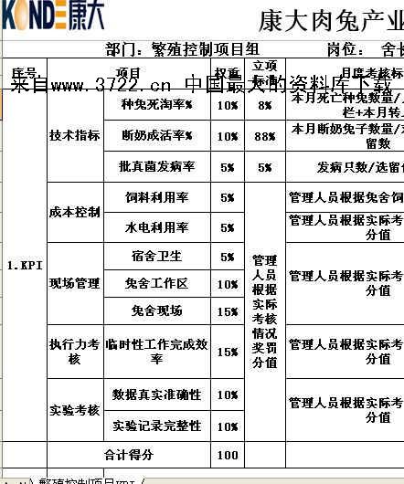 员工月度kpi绩效考核表
