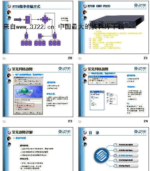 更多资料在资料搜索网(http://www.3722.cn) 海量资料下载 FTTB介绍 FTTB 即Fiber to The Building(光纤到楼),它是利用数字宽带技术,光纤直接到小区里,再通过双绞线(超五类双绞线或4对非屏蔽双绞线)到各个用户。FTTB采用的是专线接入,无需拨号,安装简便,客户端只需在计算机上安装一块网卡即可进行24小时高速上网。FTTB提供最高上下行速率是10Mbps(独享) 特点: 速度快 :光纤到楼,网线到户,上下行速率均达到10Mbps,是普通56K调制解调器的180