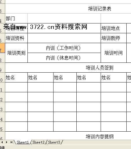 重庆中x汽车服务有限公司培训记录表格(xls)免费